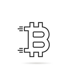 black thin line bitcoin icon like crypto currency vector image