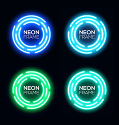 blue and green neon light circles set vector image