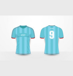 cd91fae61 Blue stripe and red sport football kits t-shirt vector ...