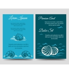 Brochure template flyers with sea shells vector image