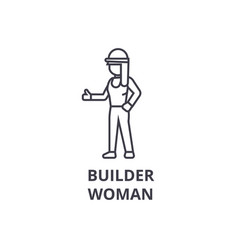 builder woman line icon sign vector image
