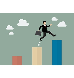 Businessman jumping up to a higher bar chart vector