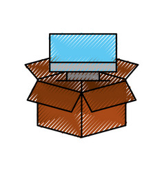 Cardboard box computer storage system technology vector