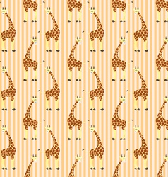 Cartoon giraffes on stripes pattern vector