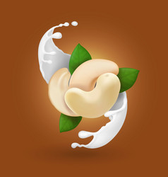 cashew nuts in milk splash realistic isolated vector image