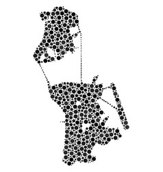 Chinese macau map composition of dots vector