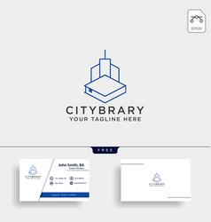 city book or home book line art logo template vector image
