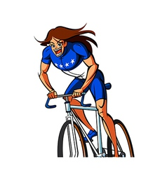 Close-up of woman riding bicycle vector image