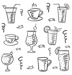 collection drink theme doodle style vector image