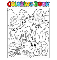 coloring book bugs theme image 3 vector image