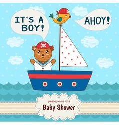 Cute bashower invitation card it s a boy vector