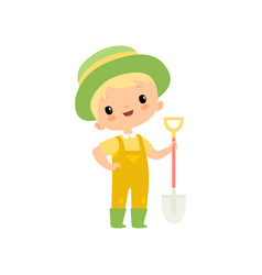 Cute boy in overalls rubber boots and hat with vector