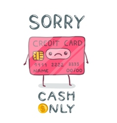 cute cartoon hand drawn credit card character vector image