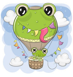Cute frog is flying on a hot air balloon vector