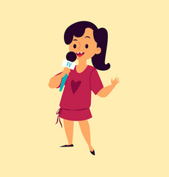 cute girl sings a song into microphone flat vector image