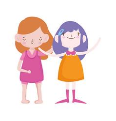 cute little girls happy friends cartoon characters vector image
