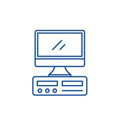 desktop computer line icon concept desktop vector image