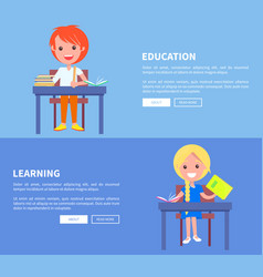 education learning set of poster with boy and girl vector image