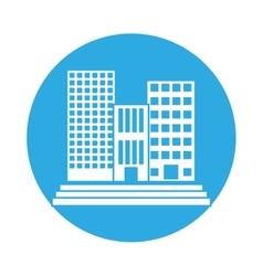 emblem buildings and city scene line sticker vector image