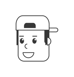 Face of man with hat icon vector