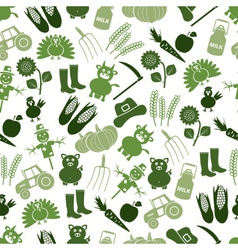 farm icons green seamless pattern eps10 vector image
