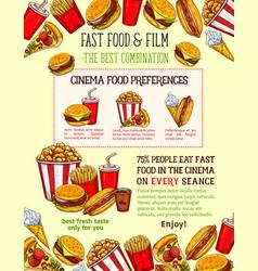 Fast food snacks sketch fastfood meals vector