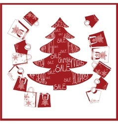 fir-tree with purchases Christmas sale vector image