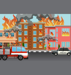 fire in the town vector image
