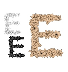 Floral letter e with vintage elements vector