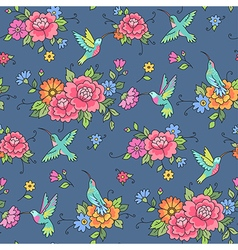 Floral pattern colibri blue vector