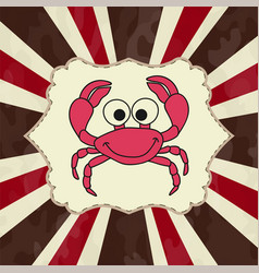 Funny cartoon crab for you design vector
