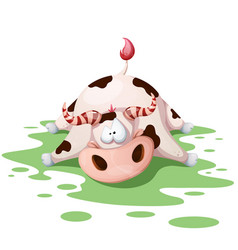 funny cute crazy cartoon cow characters vector image