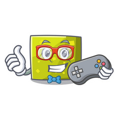 gamer square mascot cartoon style vector image