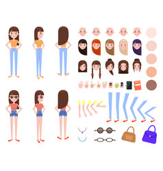 Girl constructor with body parts and outfits set vector