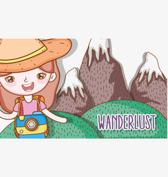 girl with camera in the ice mountains landscape vector image