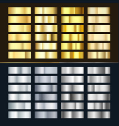 golden and silver gradient set various shiny vector image