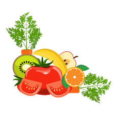 Group organic fresh vegetables and fruits for vector