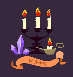 halloween candles and crystals vector image
