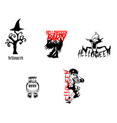 halloween night party element set template vector image