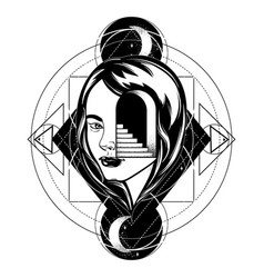 Hand drawn of female head with door and stairway vector