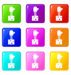 Hand on spring in box icons 9 set vector