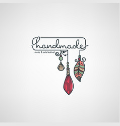 Handmade art festival hand drawn doodle logo vector