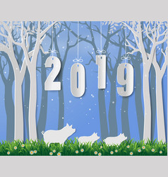happy new year 2019year of pig on paper art vector image