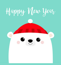 Happy new year polar white bear cub face red hat vector