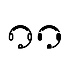 headset icon with outline and glyph style vector image