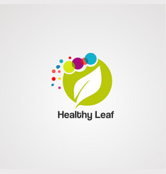 healthy leaf logo icon element and template vector image