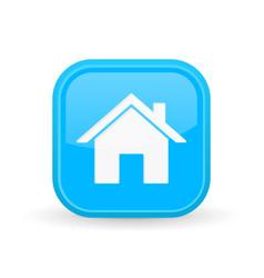 Home icon blue square shiny button vector