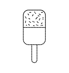 ice cream covered with chocolate on wooden stick vector image