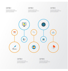 job icons flat style set with manager structure vector image