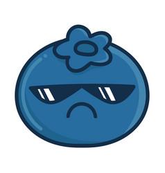 Kawaii sunglasses blueberry cartoon vector
